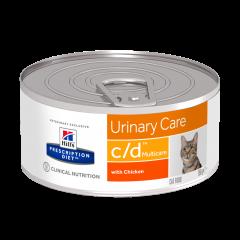 Hills Feline C/D Urinary Care 156g 1X24Tin (Minced Chicken)